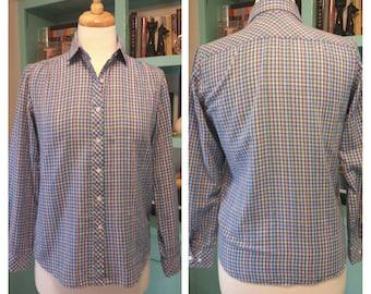 60s-80s Primary Plaid Button Down Shirt Women's M