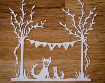 Original Papercut Fox Nursery Art