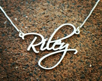 Silver Name Necklace / Pretty Little Liars Necklace / Personalized Custom made nameplate /  Sterling Silver Scriptina Font Name Necklace