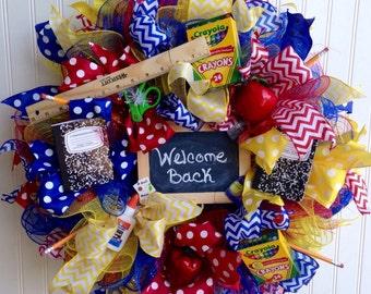 Teacher wreath ,back to school wreath ,teacher appreciation wreath ,school wreath ,deco mesh wreath
