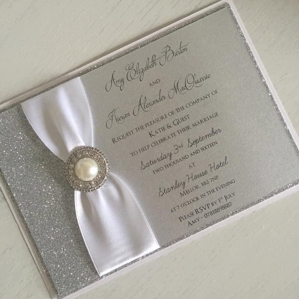 Silver Wedding Invitations: Silver Glitter Wedding Invitation / Silver Glitter Wedding