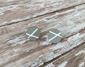 Hand Painted Latte Geometric stud earrings/ cute earrings/ neutral stud earrings/ gifts
