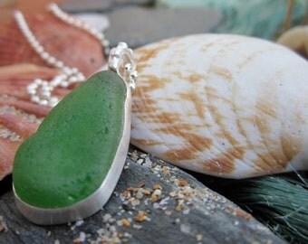 Cornish Sea Glass and Silver Necklace