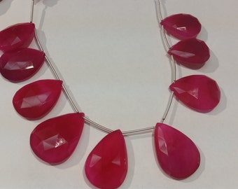 """Pink Chalcedony Faceted Pear 21X30 mm Approx size in 8 """" Length"""