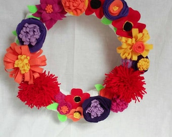 Colorful Felt Flower Wreath, Pompoms, Free Shipping