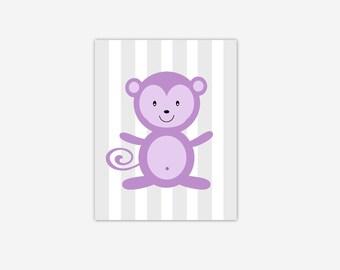 Baby Nursery Wall Art Purple Lavender Gray Grey Monkey Canvas Prints Baby Boy Girl Nursery Decor Safari Jungle Zoo Animals New Baby Gift