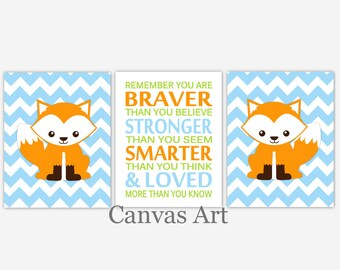 Canvas Baby Boy Nursery Fox Woodland Forest Friends Animal Remember You Are Braver Toddler Boy Baby Nursery Decor Children Room CHOOSE COLOR