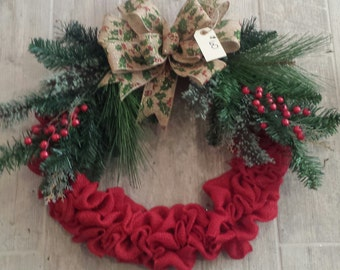 Red Burlap and Holly