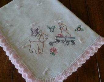 Baby Girl, Hand Embroidered, Crochet Edge, Flannel Blanket
