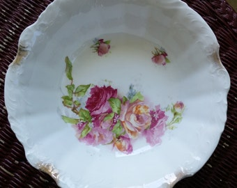 Large Vintage Unmarked Open Rose Embossed Serving Bowl