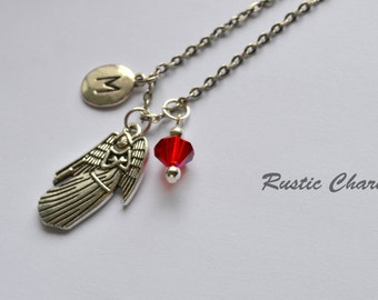 Personalized Birthstone and Initial Angel Charm Necklace