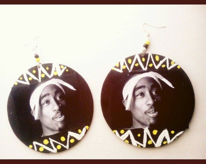 Unique hand painted 2pac / Tupac hip hop earrings