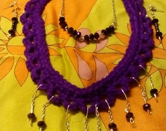 Crocheted purple necklace set