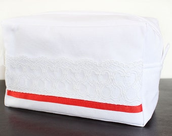Bride makeup bag, Large makeup bag, Bridal bag, White bag, Linen bag, White linen, Bridesmaid gift,  Gift for women, Handmade bag