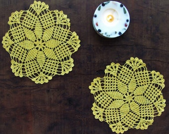 Yellow Cozy Crochet Tablecloth, Tablerunner, Doily, Place Mat, For Home Decor.