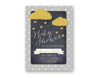 Clouds Baby Shower Invitation - Printable Baby Shower Invitation - Digital Invitation - Digital File