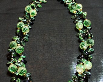 Vintage Signed West Germany Green and Black Glass with Gold Beads Multi-strand Necklace with Matching Clip-On Earrings Beautiful!