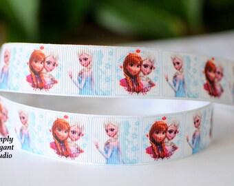 """7/8"""" Elsa and Anna Grosgrain Ribbon, Frozen Ribbons, Princess Printed Ribbons, Hair Bow and Scrapbooking Supplies, Ribbon by the Yard"""