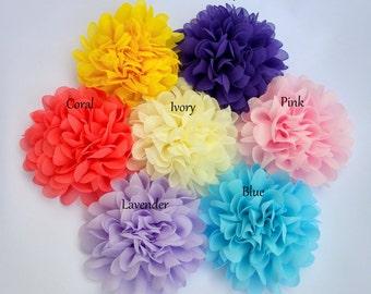 "Large Chiffon Flowers, 4"" Fabric Flowers, Baby Headband Flowers, Craft Supply Flower"