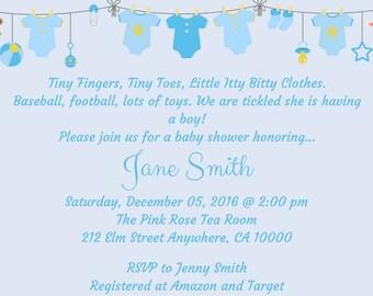 Baby Boy Baby Shower Invitation-Blue Shower Invite-Baby Shower Invite-It's a Boy Shower Invitation-DIY-Shower Invitation-Printable Invite