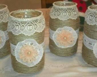 Rustic Decor Mason Jar Vases