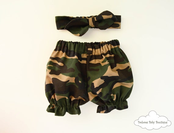 Army Bloomers Set Baby Girl Outfit Green by