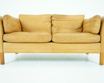 307-056 SALE! Danish Mid Century Modern Leather Sofa Loveseat Couch