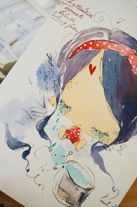 Original Watercolor Painting Miss series-m0010 (7.5 x 9.8 inches)