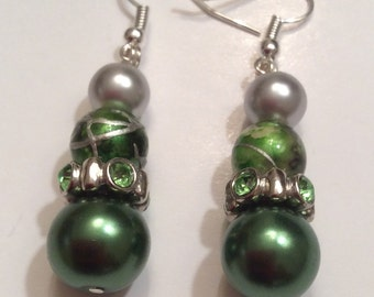 Holiday Green and Silver Earrings