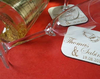 Drink coasters, personalized coasters/table mats, coasters, desired engraving, wood, wood, laser engraving, wedding, compose