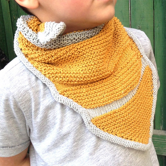Childs Hand Knit Bandana Cowl Triangle Scarf Knitting Pattern