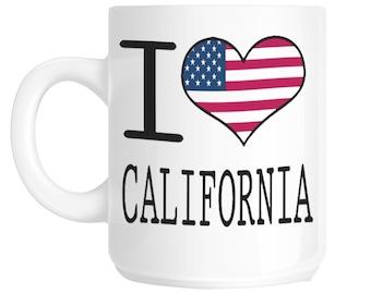 I Love Heart California Novelty Gift Mug shan133