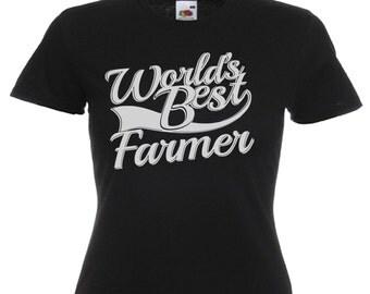 World's Best Farmer Gift Ladies Women's Black T Shirt Sizes From UK size 6 - UK size 16