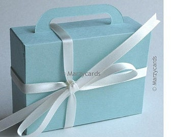 Aeronautical Suitcase Gift Box Set of 10 MARZYCARDS Luxury CARD Favour Boxes, Special Occasion Wedding, Baby Shower, 1st Birthday, Aqua Blue