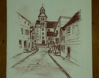 Mini lithograph Church of Robert Fertier