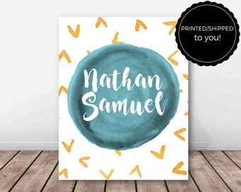 Baby Nursery Print Personalized, Wall Art Gift, Baby Name, Middle Name, Pattern, 8 x 10 Inch Poster, Shipped To You