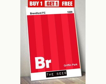 Brentford  football club print, Brentford  wall art, The Bees, Brentford  prints