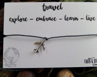 Travel Friendship Bracelet Wanderlust Plane Charm