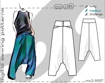 Harem Sarouel Afghan Pants/ Buttoned Yoke & Pockets (sizes: uk 6-20/ usa 2-16) Digital PDF Sewing Pattern for Women >mc2patterns< mc2-9007