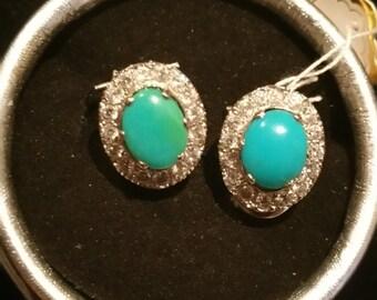 Feroza stone and cubic zircon earrings/stud in sterling silver