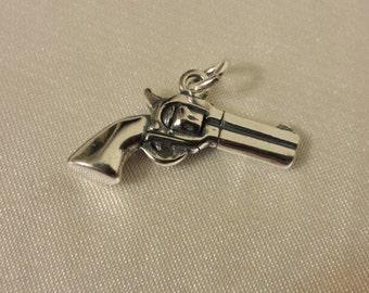 Gun, Pistol, 3D sterling Silver Gun charm