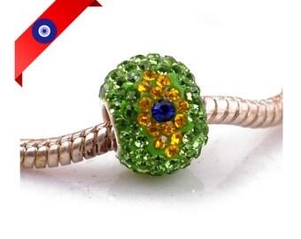 Brazil Flag Charm - Sterling Silver - Fits Pandora and other Charm Bracelets