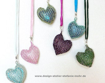 "wire crochet pendant - ""HEART"" - with embedded glass-heart"