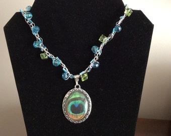 Pendant crocheted chain, jewelry