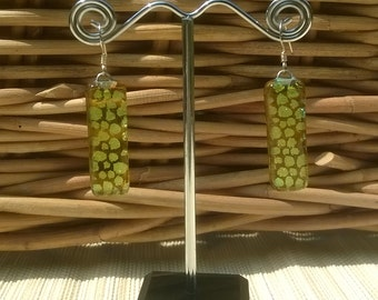 Yellow dichroic glass drop earrings, sterling silver wires, fused glass, kiln fired, 30mm long, gift boxed, UK, unique.