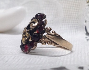 Rose Cut Garnet 10k Ring