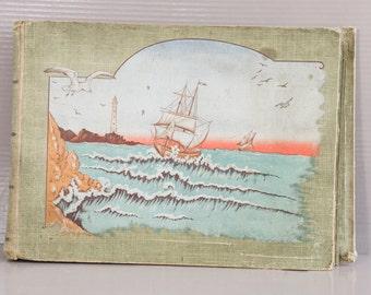 Album Cartes Postales   Époque Art nouveau   Album vert à décor maritime   Classeur Cartes Postales   Couverture Relief   Album CPA Antique