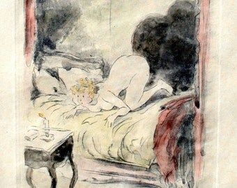 "LOUIS ICART Stubborn Flame from ""La Nuit et le Moment"" 1946 Etching Signed"