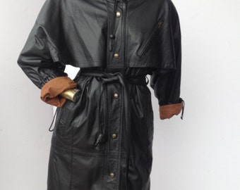 PIERRE BALMAIN vintage 1980s leather trench coat sz med