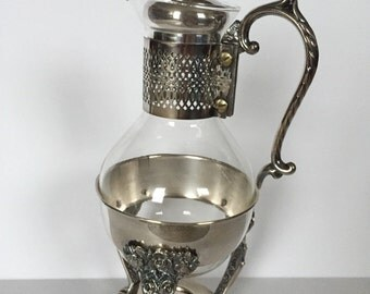 Silver-plated Glass Tea Kettle Ornate Good Condition set of 3 pieces elegant
